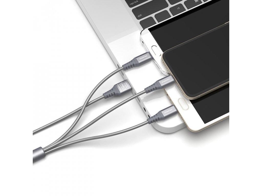Multifunkční datový a nabíjecí kabel PN-317 micro USB - Apple Lightning - USB-C