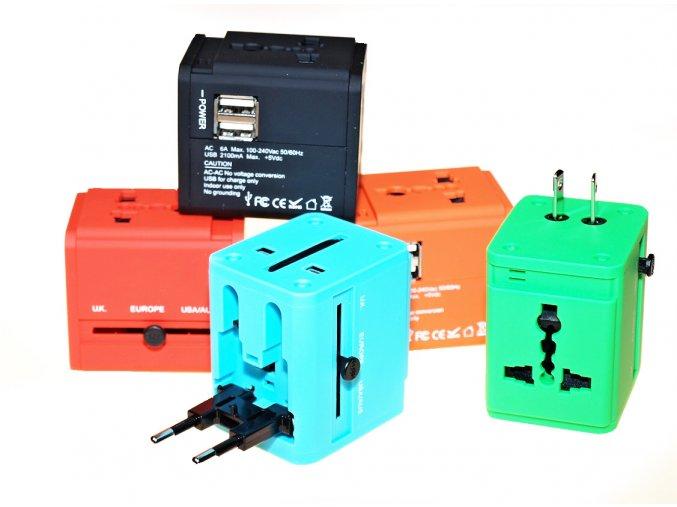 Cestovní adaptér JY-158 s duální USB nabíječkou